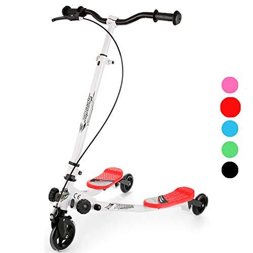 Hopekings Patinete Scooter de 3 Ruedas para niños Mayores de 5 años, Plegable, Asas Ajustables (Rojo)