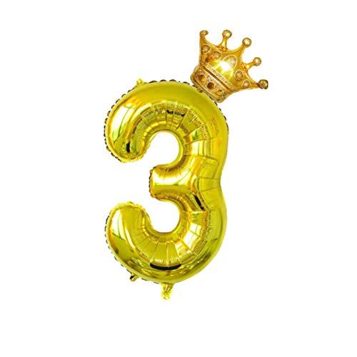 Amosfun Número 32 Pulgadas Globo 3 Grandes Globos Gigantes Enormes Foil Mylar Helio Globos de Corona para Cumpleaños Aniversario de Bodas Suministros para Fiestas Decoración