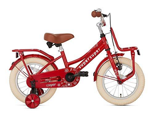 POPAL SuperSuper Cooper Kinder Fahrrad für Kinder   Mädchen Fahrrad 14 Zoll ab 3-5 Jahre  Kinderrad met Stützrädern   Rot