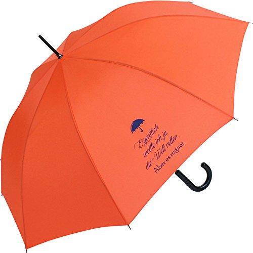 Stockschirm für Damen und Herren mit Automatik - Bedruckt Eigentlich wollte ich … - orange