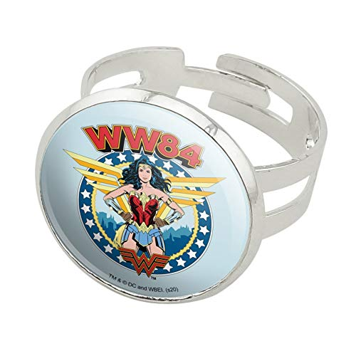 Wonder Woman 1984 Logo Wings Silver Plated Adjustable Novelty Ring