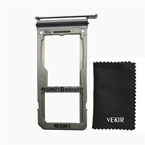 VEKIR Reemplazo de la Bandeja de Tarjeta Dual Sim para Samsung Galaxy S8 G950F G950U (Silver)