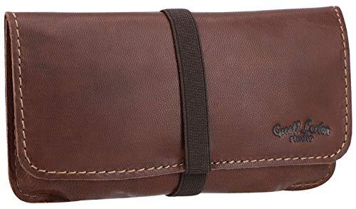Porta tabacco Gusti Leder studio Farro  borsa in vera pelle marrone scuro 2T30-22-6