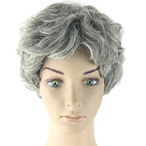 Amosfun Kurze graue perücke graue perücken alte Dame perücke oma graue alte Frauen Kurze lockige perücke zubehör oma perücke für Maskerade Party Halloween kostüme