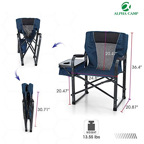 ALPHA CAMP Director Chair Folding Camping Chair with Side Table Heavy Duty Portable Chair with Cup Holder Cooler Bag Steel Outdoor Chair for Adults Oversized Lawn Chair for Picnic,Capacity-350 lbs