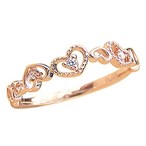 [ジュエリーアイ] ピンキーリング 指輪 ダイヤモンド ダイヤリング ピンクゴールドK18 K18PG 18金 人気 ハートモチーフ ミル打ち 6.5号