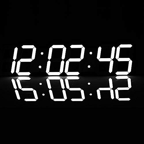 QERNTPEY Creative Wall Clock Super Large Digital LED Alarm Clock Control Countdown Timer Sports Timer Stopwatch Best Gift (Color : White, Size : One Size)