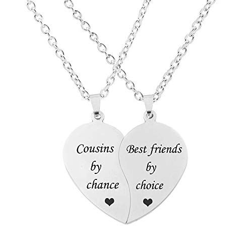 MJartoria BFF Necklace for 2-Split Valentine Heart Necklace Together Forever Never Apart Best Friends Pendant Friendship Necklace Set of 2 Gifts for Her(Silver-Cousins by chance)