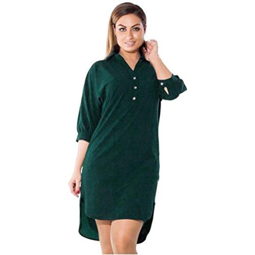 SHOBDW Vestido de Mujer Causal Vestidos de Mini para Mujeres Medio de la Manga de Suelto Vestido del Verano de la Playa Solid Color Camisero de V-Cuello Tallas Grandes (6XL, Verde)