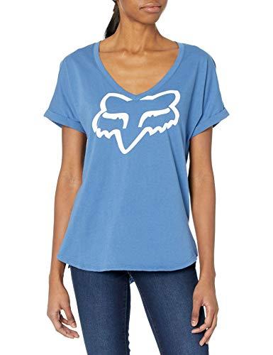 Fox Response SS T-Shirt à Manches Courtes pour Femme Col en V Large Bleu/Blanc