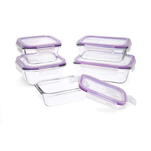 Quid Frost Set de 5 recipientes herméticos para alimentos con tapa, Rectangulares, Con válvula para microondas, Sin BPA, Vidrio