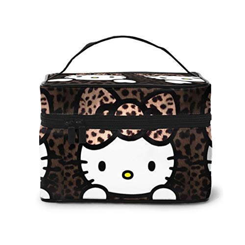 Kosmetiktasche, Leopardenmuster, Hello Kitty, Reise-Kosmetiktasche, große Tasche, Netzstoff, Pinsel-Organizer, Kulturbeutel für Frauen und Mädchen