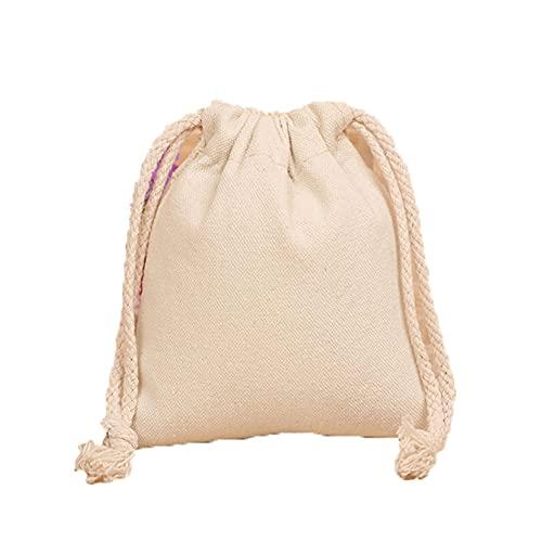 Wilany - Borsa da viaggio in tela con coulisse, con cordoncino in canapa, borsa da viaggio, borsa per caramelle, gioielli, borsa regalo riutilizzabile, con coulisse