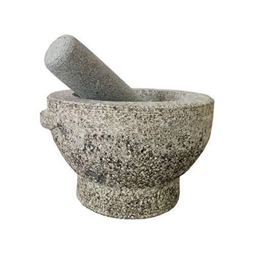 ELXSZJ XTZJ 6'Mortero de Granito y Maja de Piedra Natural y Molinillo de Piedra Natural para Especias, Hierbas, condimentos, pastas, Pesto y Guacamole con Elegante diseño ergonómico.