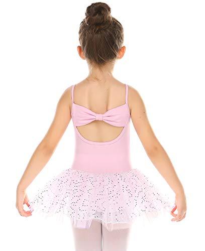 Bricnat Ballettkleid Mädchen Ballettanzug Kinder Ballettkleidung Tanzkleid Tütü Ballett Trikot aus Baumwolle mit Flügelärmeln 150 Rosa 8-9 Jahre
