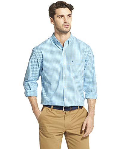 IZOD Men's Fit Button Down Long Sleeve Stretch Performance Gingham Shirt, Clear Air Blue, X-Large Slim