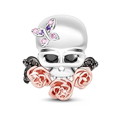 GNOCE Cráneo Abalorio Plata con Mariposa y Flores de Oro Rosa para Mujer Charms Plata de Ley 925'Amor Eterno Charm Abalorios con Circonita cúbica para Collares y Pulseras