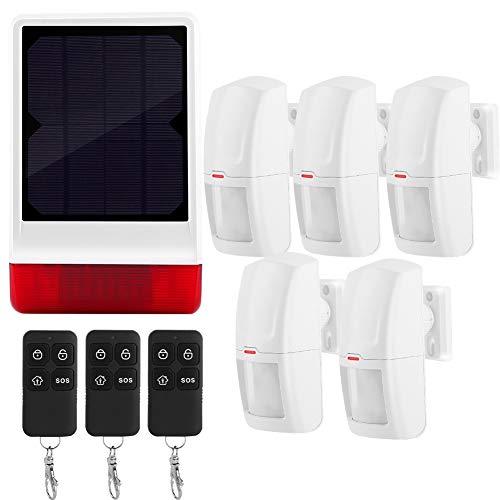 Kit de sistema de alarma de seguridad, sirena solar inalámbrica Sistema de alarma de seguridad Alarma de sensor magnético 5 PIR y 3 control remoto para el hogar Secuirty