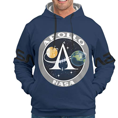 NASA Print Vintage Style Colorful Hooded Sweatshirt with Pocket Teen Boys and Girl Teenagers Shuttle Clipart Apollo drakblack 2XL