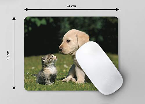 """""""BESTE FREUNDE – KATZE MIT HUNDE-WELPE"""" (MOTIV 108) Tier-Mousepad: Qualitäts-Mauspad aus extrem reissfestem Spezialkautschuk mit stark haftender Unterseite für optimalen Halt – kompatibel für alle Maustypen - 6"""