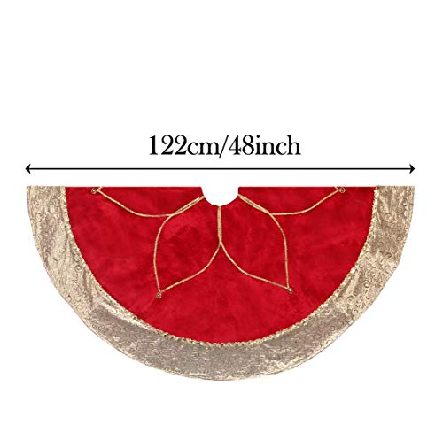 Valery Madelyn 48 inch Luxury Red Gold Christmas Tree Skirt with Flower Design, Themed with Christmas Ornaments (Not Included)
