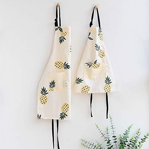 Lindong Delantal con diseño de animales con bolsillo, para mujeres y niños, impermeable, de algodón, lino, delantal de cocina, delantal de cocina para niños, color beige y piña.