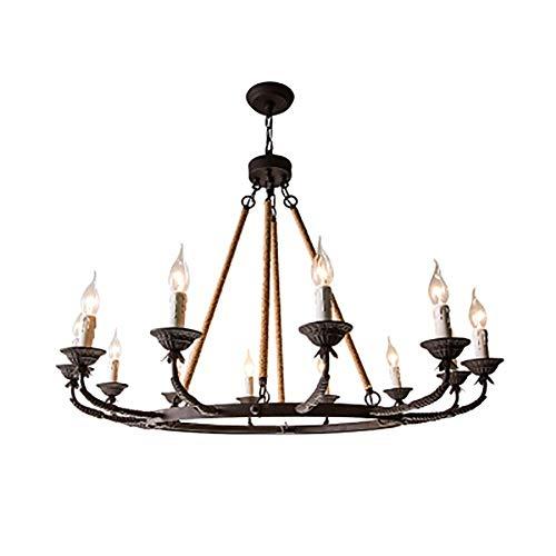 Candelabro de granja negro de 12 luces, lámpara colgante de granja rústica industrial para el hogar Bar Sala de estar Cocina Comedor Dormitorio-Negro.12 luces