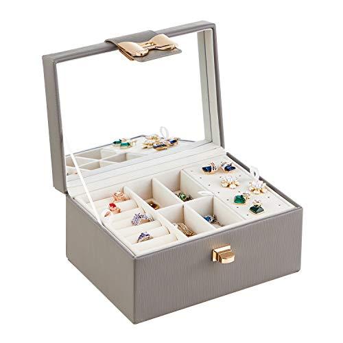 RIRO Organizador de joyas para mujeres y niñas, 2 capas de almacenamiento de joyas con cierre de nudo y espejo – Caja de joyería para collar, pendiente anillo (gris-1)