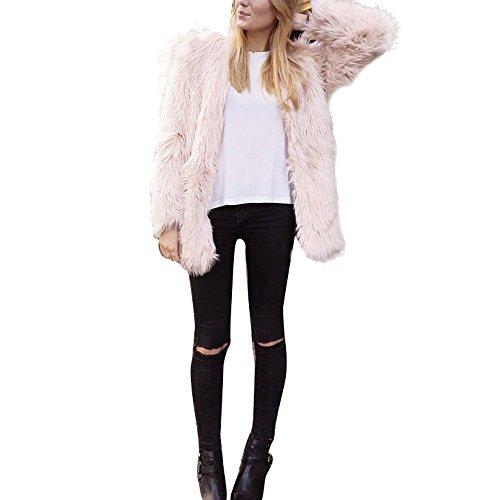 SERYU Damen Winterjacke aus Kunstfell, warm, Schwarz - Pink - Klein