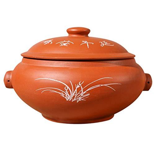 Marmite pour soupe au ragoût lentement, cuiseur vapeur, casserole saine, marmite basse en céramique antiadhésive, fondue japonaise résistante à la chaleur, cocotte en argile céramique avec couvercle