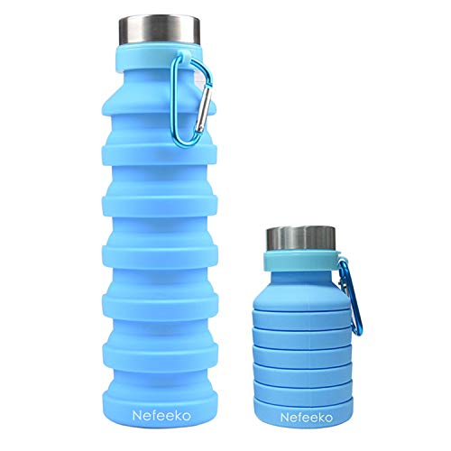 Nefeeko Collapsible Water Bottle, Reuseable BPA Free Silicone Foldable Water Bottles for Travel Gym Camping Hiking, Portable Leak Proof Sports Water Bottle with Carabiner, 18oz (Blue)