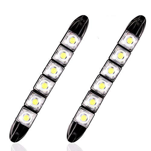 HEHEMM Flexible LED-Tagfahrlichter mit 6 LEDs, universal, weiches Röhre, DRL, Weiß