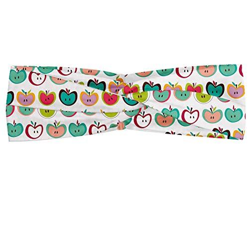 ABAKUHAUS Pomme Bandeau, Style rétro Fruit Illustration Juvénile Childish alimentaires Design Enfants manger bio, Serre-tête Féminin Élastique et Doux pour Sport et pour Usage Quotidien, Multicolore