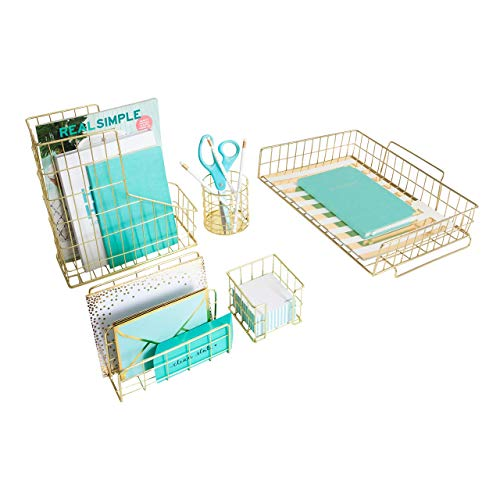 Blu Monaco Office Supplies Gold Desk Accessories for Women - 5 Piece Wire Gold Desk Organizer Set – Letter Sorter, Paper Tray, Pen Cup, Magazine File - Stationery Decor