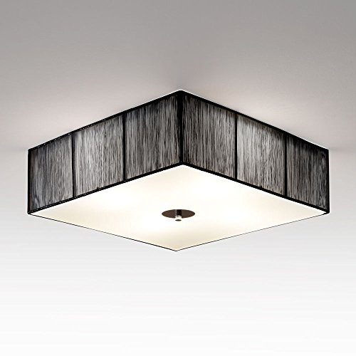 s.LUCE Twine Deckenleuchte mit Stoffschirm 45x45cm Lampe Stofflampe Stoffleuchte Schwarz Deckenleuchte auch als Wohnzimmerlampe für Kinderzimmerbeleuchtung Flurbeleuchtung Flurlampe Kinderzimmerlampe Schlafzimmerlampe sorgt durch umwickelten Garn für stilvolle Akzente auch in Hotelbeleuchtung Zimmerbeleuchtung Zimmerlapme