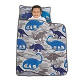 Everything Kids Blue & Grey Dino Toddler Nap Mat with Pillow & Blanket, Navy, Grey, Blue