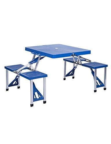 Outdoor Balcony Garden Camping Portable Table & Chaise de Jeu Wild Leisure Beach Pliante Table (3 Couleurs Disponibles) (Couleur : Bleu, Taille : L*W*H: 134 * 85 * 67cm)