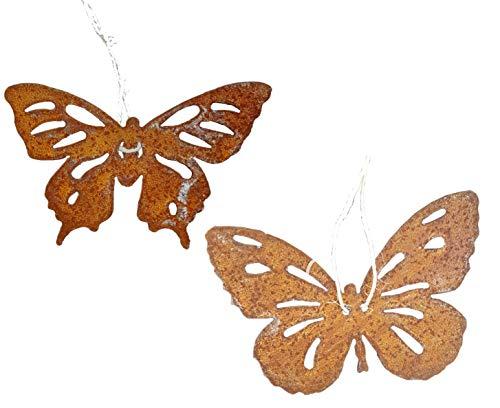 Vosteen Lot de 2 Papillon 20 x 15 cm Métal Rouille Décoration de jardin acier rouille