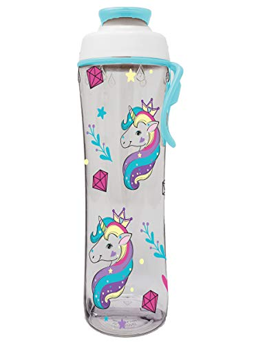 50 Strong Reusable BPA-Free Water Bottle with Leakproof Cap & Easy Carry Strap for Kids, 24 Ounces (Unicorn)