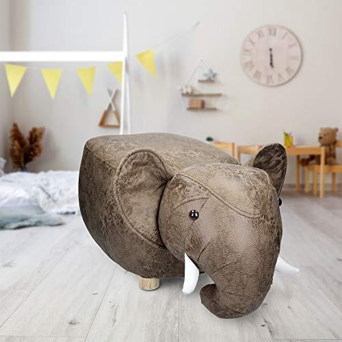 WOMO-DESIGN Taburete para Niños Forma Animal Elefante- 65x35x30 cm - Asiento Reposapiés Tapizado Marrón Sillón Otomano Madera Maciza Puff con Patas Decoración Silla Creativa Infantil