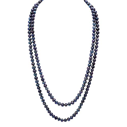 JYX lange Perlenkette Halskette, 7 mm, Schwarz, runde Feshwater Perlen, Länge 122 cm