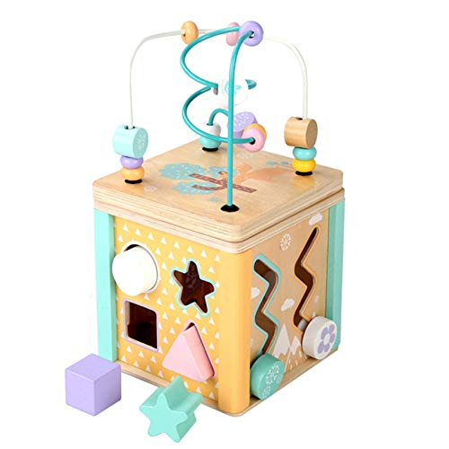 Actividad Cubo de Madera Bead Maze Laberinto de Cuentas educativas para niños pequeños, Centro de Actividades del Mundo Marino, para niños pequeños Regalo Actividad de Aprendizaje Divertido Cubo