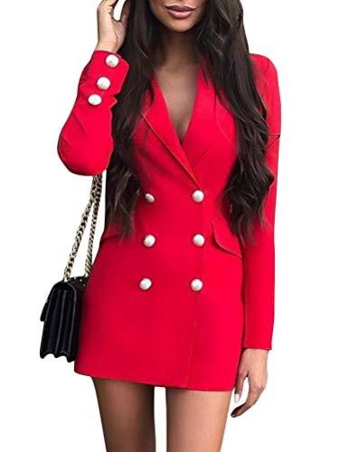 ORANDESIGNE Vestido Blazer Mujer Elegante Vestido Blazer de Negocios Traje Mini Vestido Cruzado de Manga Larga con Cuello En V Bodycon Mini Botón con Chaqueta de Moda Abrigo Rojo A 36