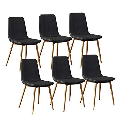 LSRRYD keukenstoelen 6-delige set moderne eetkamerstoelen lounge barkruk met metalen poten PU lederen zitting en rugleuningen voor woonkamer slaapkamer kantoor zwart