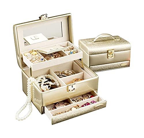 WHZG Caja joyero 3 Capas Caja de joyería Organizador de joyería Anillo de Almacenamiento Pendientes, Joyas de Viaje Pantalla de Caja de Terciopelo con Espejo Organizador Joyas