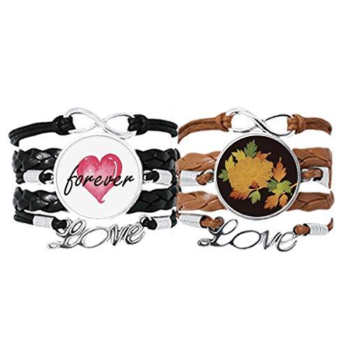 Bestchong Cultura japonesa marrón negro pulsera correa de mano cuerda de cuero Forever Love pulsera doble conjunto