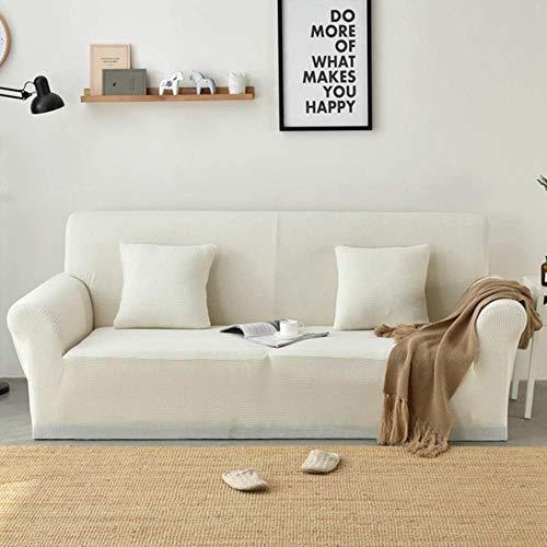 CCMOO 1/2/3/4 posti Fodera per Divano Divano coprisedili in Tinta Unita Elastico copridivano Completo Elastico Fodera per Sedia Polar Fodere per sedie, Jade White, L (190-230MM)