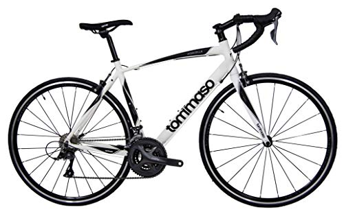 Tommaso Forcella Endurance Aluminum Road Bike, Carbon Fork, Shimano Claris R2000, 24 Speeds, Aero Wheels - Matte White - XXS