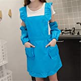 YXDZ Lindo Delantal Europeo Femenino Coreano Moda Chaleco Estilo Correa Monos Hombres Hogar Cocina Cocina Paño Bata Azul Claro + Mangas