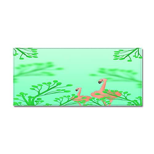 Morbuy Tappetino per Porta Ingresso, Zerbino con Stampa Fenicottero Rosa 3D, Antiscivolo, Lavabile, Morbido, per Interni Ed Esterni, per Bagno,Cucina,WC,Balcone (Albero Verde,50x80cm)